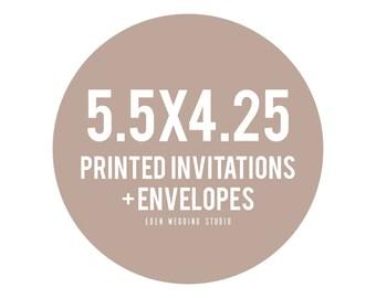5.5x4.25 Printed Eden Wedding Studio Invitations + Envelopes