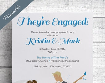 Engagement Party Invitation Printable Custom Bride Groom Caricature