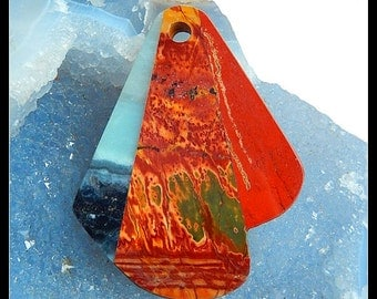 Multi-Color Picasso Jasper,Red River Jasper,Amazonite Intarsia Gemstone Pendant Bead,53x41x5mm,16.41g