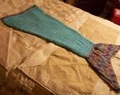 Mermaid Blanket Adult Turquoise Purple Handmade Crocheted