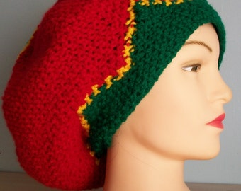 Rasta Tam Crocheted Loose Fit Red Yellow/Gold Green Crown Dreadlocks Hippie Hat
