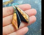 New,Labradorite,Obsidian Intarsia Gemstone Earring Bead,40x15x4mm,5.87g