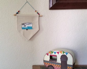 Camper, Trailer, Home Decor Hanging Wall Banner, Flag.