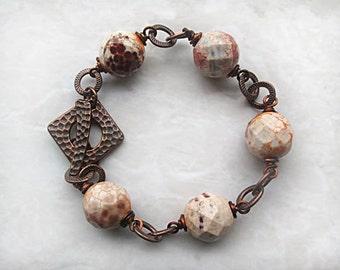 White Bracelet, Copper Bracelet, Beaded Chunky Bracelet, Beadwork Bracelet, Handmade in USA