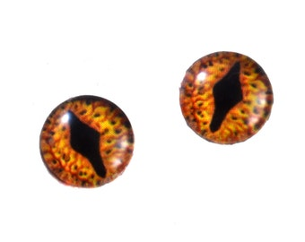 Glass Dragon Doll Eyes 8mm Pair for Jewelry Making or Fantasy Taxidermy Smaug Eyes Inspired by The Hobbit Flatback Circle Cabochons Eyeballs