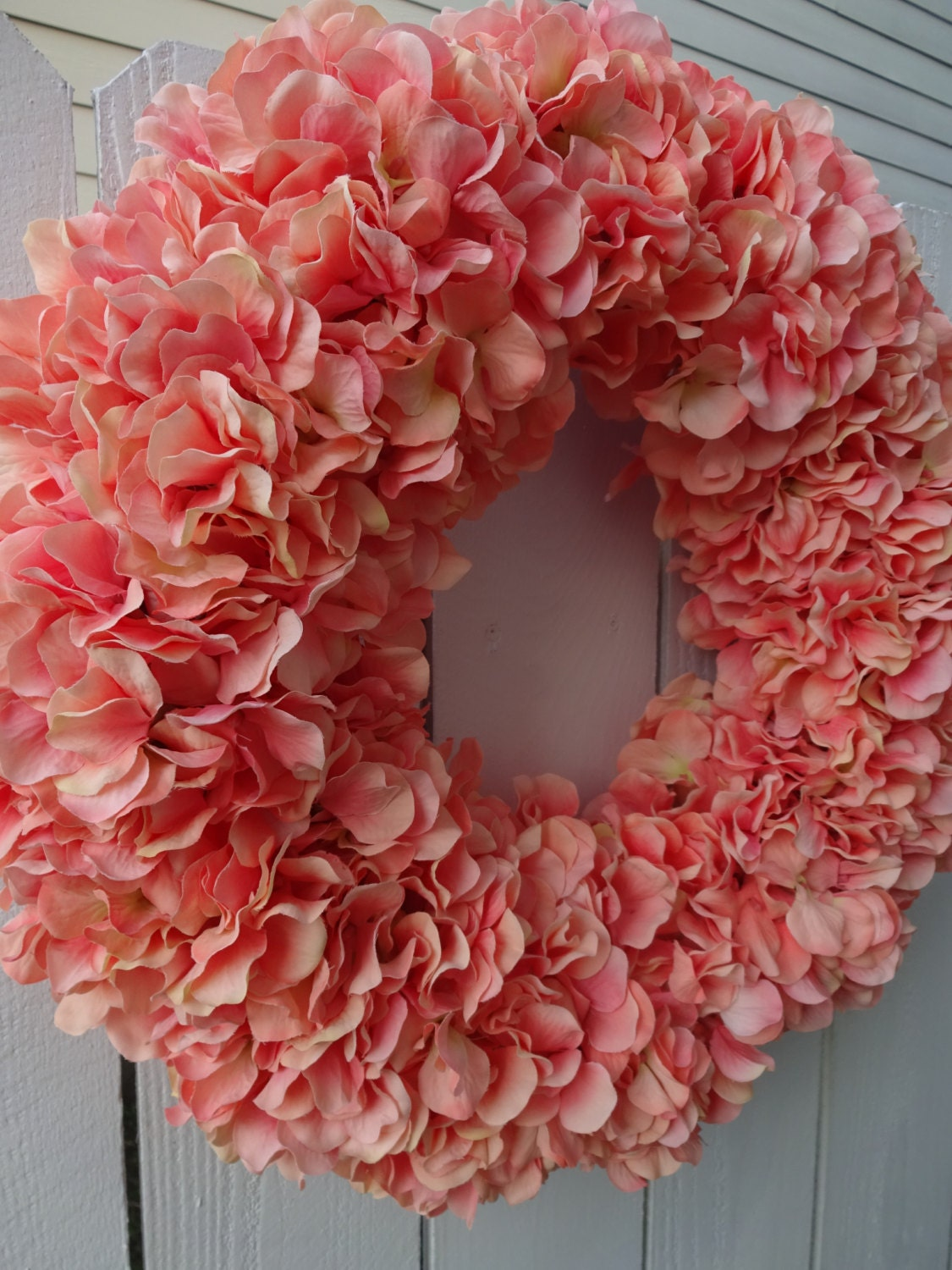 Hydrangea Wreath Coral Hydrangea Wreath Mothers Day Gift