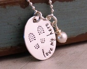 Hand Stamped Necklace - Personalized Sterling Silver Jewelry - Love my hero... ideal for Military wives