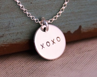 XOXO Necklace / Initials necklace on the back / Personalized Jewelry - Sterling Silver Hand Stamped Jewelry (double-sided)