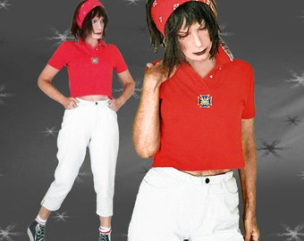 80s Crop Top - Upcycled Vintage - OOAK Short Red Polo