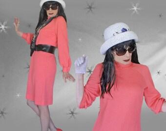 Vintage Ribbed Knit Dress - 60s Coral Long Sleeve Dress