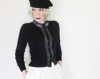 Vintage Beaded Cardigan - 50s Orlon Sweater - Black Cardigan with Pearls & Rhinestones - S