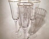 Gold Rimmed Champagne Flutes - Set of 4