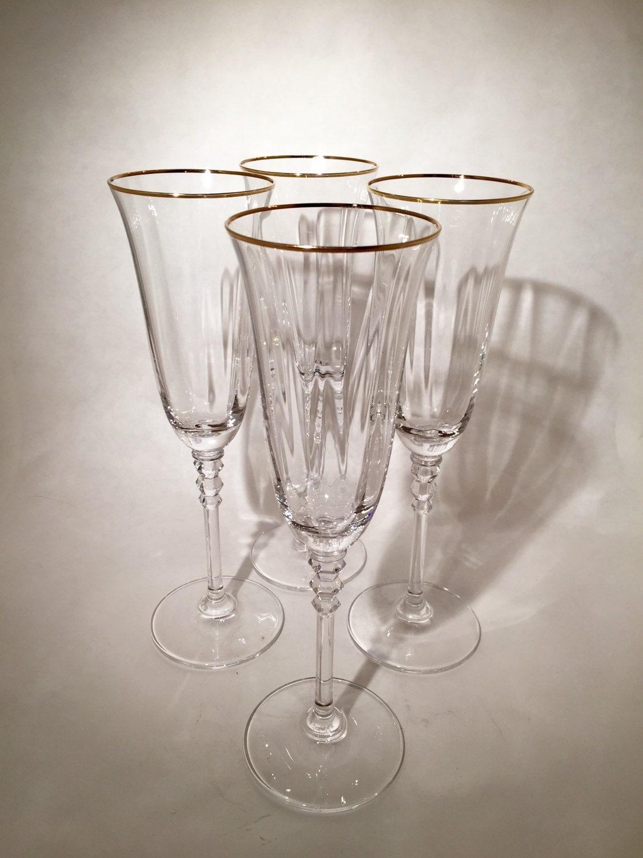 Gold Rimmed Champagne Flutes Set of 4