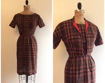 Vintage 1950s Plaid Wiggle Dress Set 50s Bolero Jacket