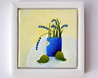 Original framed mini still life painting, 'Bluebells', modern style flower painting with pear
