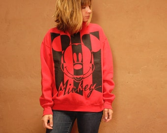 90s MICKEY MOUSE red & black sweatshirt