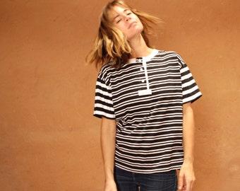 90s striped OXFORD surf HANG ten soft SPRING t shirt top