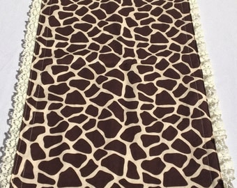 Giraffe Table Runner with Ivory Lace Trim, READY to SHIP, Baby Shower, Party, Bridal Shower, Wedding, Home Decor