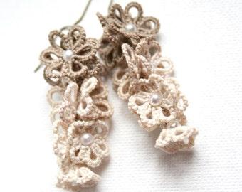 Linen and Pearls Flower Motif Dangle Beaded Fiber Tatting Earrings