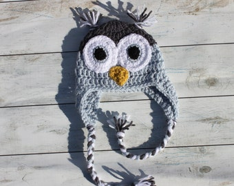 Crochet Earflap Owl Hat - Blue and Charcoal Gray
