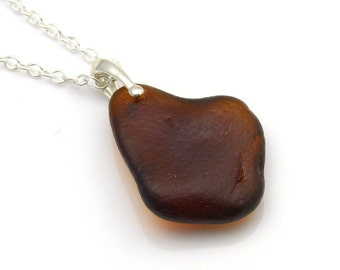 English Sea  Glass Toffee Brown on Sterling Silver Necklace TARYN
