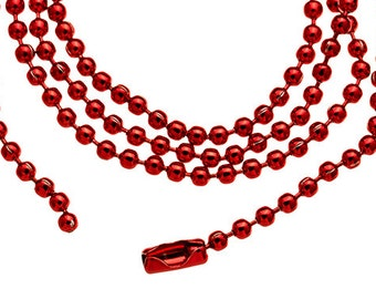 """5 RED 18"""" DIY Ball Chains Supply wholesale jewelry chain with Connectors H532"""