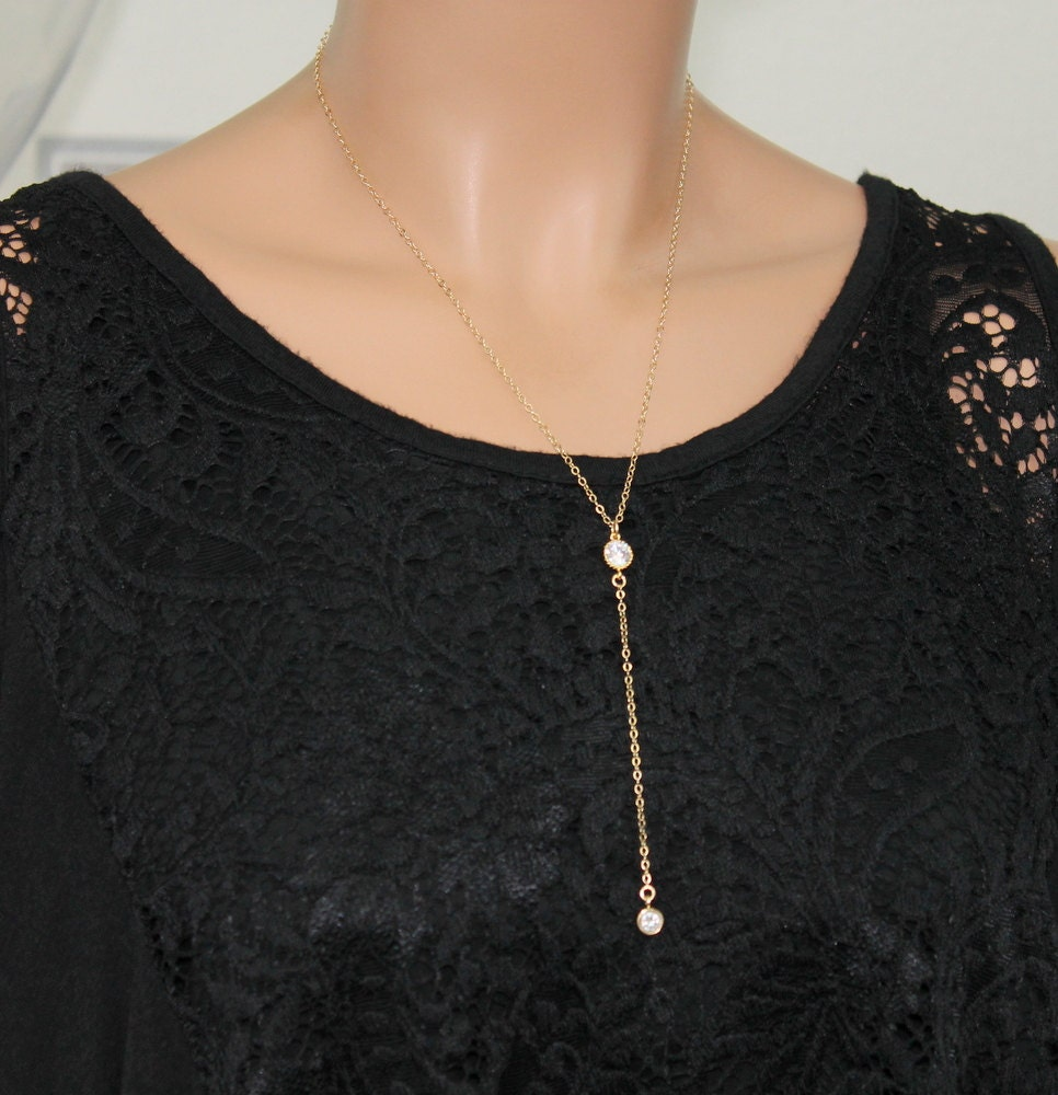 Gold Y Drop Necklace Simple CZ Lariat Necklace CZ Diamond
