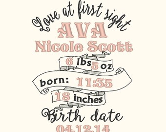 Birth Announcement embroidery template and mini font Set  / embroidery designs INSTANT DOWNLOAD Love at first sight