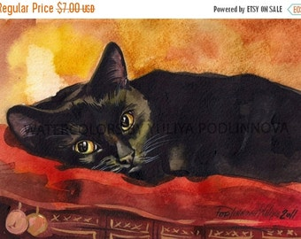 Limited time 40% off Black Cat Digital Art Print of Watercolor Painting. JPEG image of cat for instant download. Watercolor of cat by Yuliya