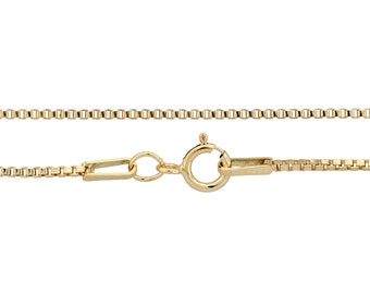 14kt Gold Filled 1mm 20 Inch Box chain with spring ring clasp - 1pc Finished Box Chain (3073)/1