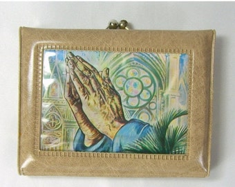 End Summer Sale Vintage 1970s Jesus Praying Hands Wallet Coin Purse Tan Vinyl Religious Never Used