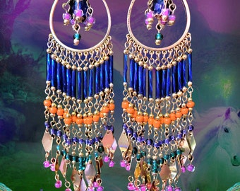 "Long Colorful Beaded Chandelier Earrings, Silver, Gold or Bronze Hoop Earrings, East Indian Bollywood, Cobalt Blue, Bright Orange, 6"" Long"