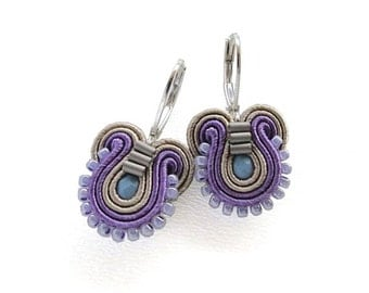Purple Earrings Purple and Blue Earrings Purple Drop Earrings Small Drop Earrings Small Dangle Earrings Soutache Earrings Purple Dangle