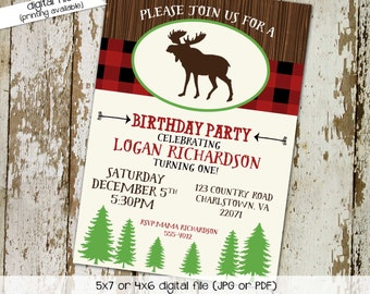 camping birthday invitation moose baby boy shower lumberjack plaid buffalo retirement couples diaper coed (item 213) shabby chic invitations