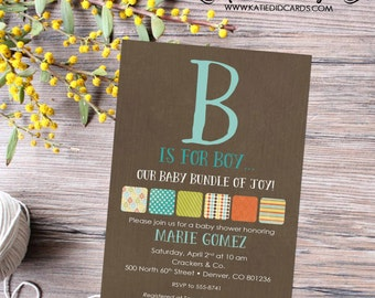 baby boy baby shower invitation B is for boy pre-baby baptism high tea shower baby sprinkle diaper couples (item 1214) shabby chic rustic