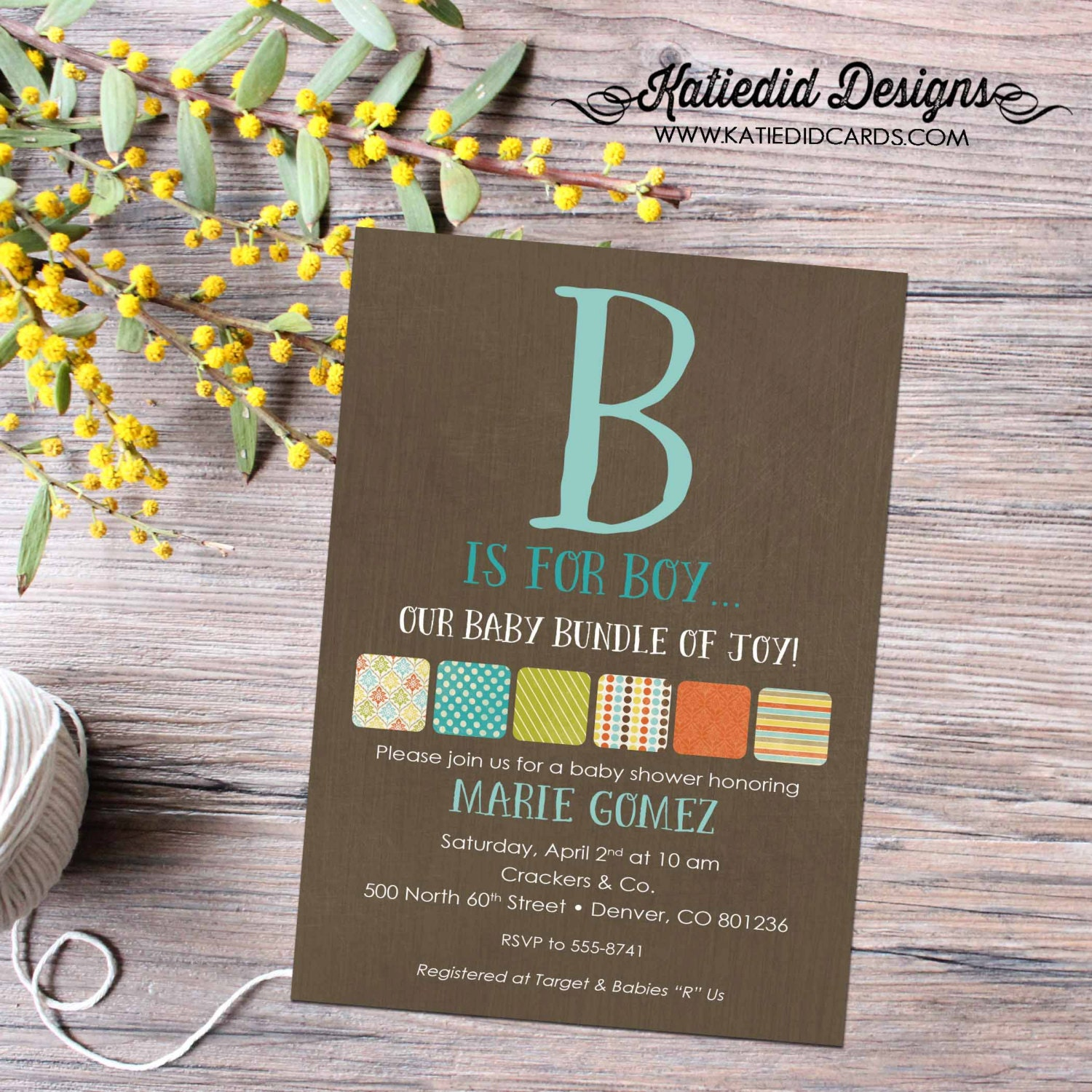 rustic baby boy shower invitation b is for baby invite kraft paper ...
