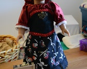 American girl Pirate queen long skirt, bloomers, blouse, head scarf, corset, pirate chest red and black gems black and white skulls