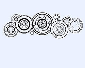 Doctor Who Decal, sticker, Gallifreyan language, circles,