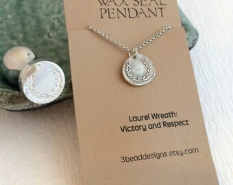 Laurel Wreath Wax Seal Necklace, fine silver charm pendant Greek mythology Greece victory antique birthday gift gifts unisex
