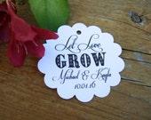 20 Let Love Grow Custom Wedding Favor Tags in white, ivory, Kraft.  Thank you favor tags.  Wedding favor tag.