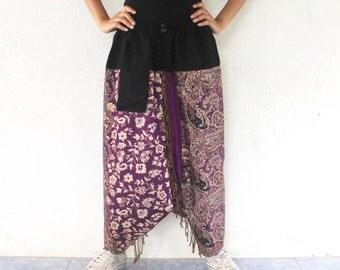purple paisley harem pants  Indian shawl fabric ,yoga,spa,hippie, bohemian,  size S-L,unisex pants.