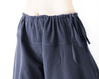 Summer Cotton Beach Pants, Comfy Wide Leg Drawstring Waist Pants, Loose Fit Maternity Pants in Dark Blue