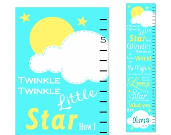 Growth Chart Twinkle Twinkle Canvas Growth Chart Personalized Children Pink Aqua