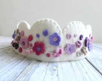 Birthday Crown, Floral crown with purple,  pink, yellow  flowers made of felt