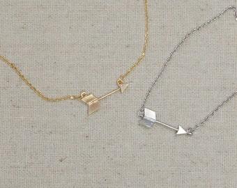 Tiny Matte Finished Arrow Necklace or Bracelet, You Choose Color, Tribal, Geometric, Minimalist