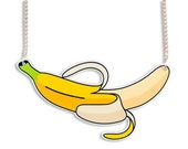 Yellow Banana Colorful Statement Big Fruit Necklace - Summer Tropical Retro Fruity Sassy Kitsch Kitschy Perspex Acrylic Illustration Funny