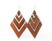 Pyramid Laser Cut Wood Earrings - Cut from Sustainable Reforested Wood