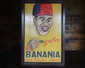 Vintage French Y'A Bon  Banania Petit Dejeuner Familial Banania Milkshake Advertising Board Restaurant Cafe  circa 1970-80's / English Shop