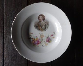 Vintage French White Ceramic French Court Persons Louis XIV Plate Dish circa 1920-30's / English Shop