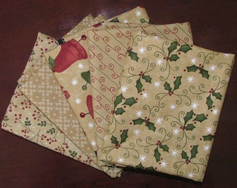 Fat Quarter Bundle of 5 of Merry Medley in Ivory by Sandy Gervais for Moda LAST ONE